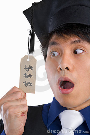 Surprised scholar in expensive education