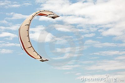 Kiteboarding kite in sky