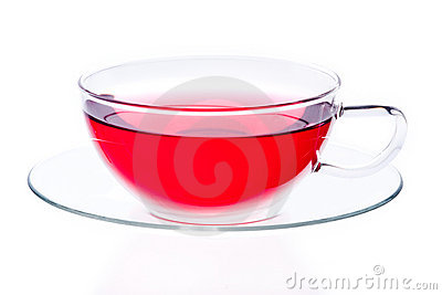 Glass cup of red tea