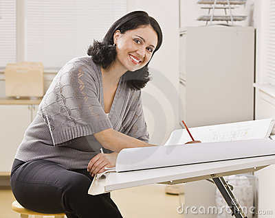 Attractive Woman Writing