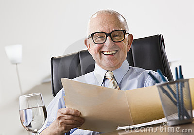 Elderly Business Man Smiling