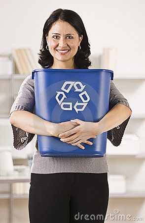 Woman Holding Recycling Basket