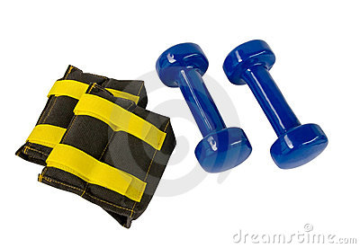 Blue fitness dumbbells and foot weights