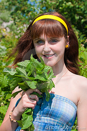 The girl with a mint bouquet