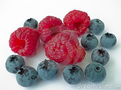 Berries of a raspberry and blueberry