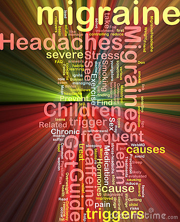 Migraine word cloud glowing