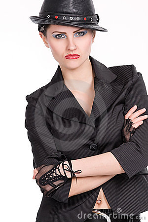 Young woman with black leather hat