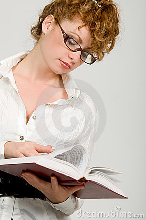 Young lady reading  book