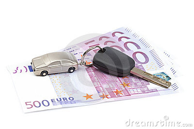 Car key and euro bills
