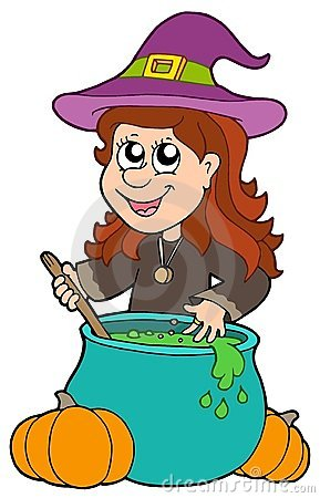 Wizard girl with cauldron