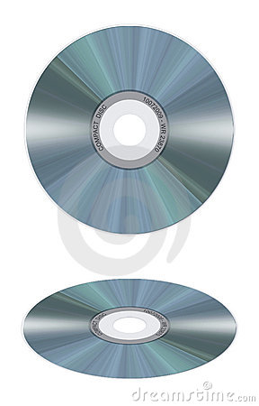 Realistic compact disc on white background