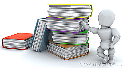 3d render of man and stack of books