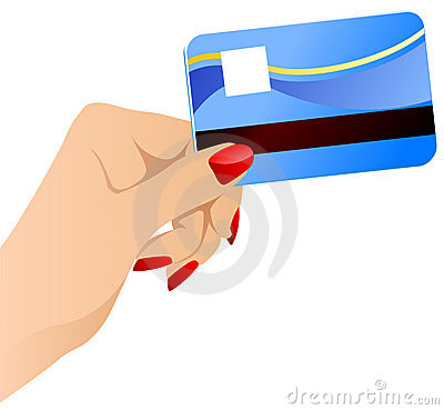 Vector females hand with credit card.