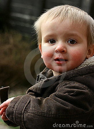 Cute toddler in winter coat