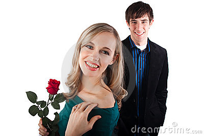 Happy couple with rose