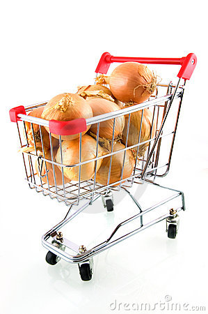 Shopping car with onions