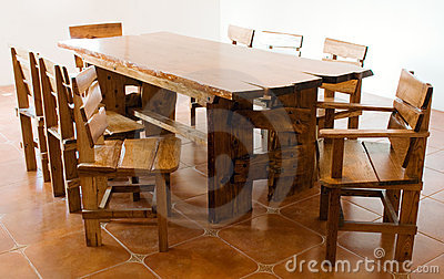 Large old wooden table