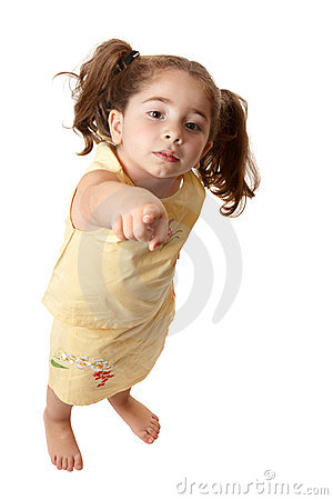 Young little girl pointing finger