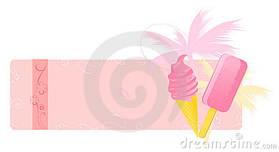 Summer banner with ice-creams
