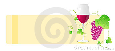 Banner with wine glass and grape