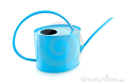 Blue iron watering can