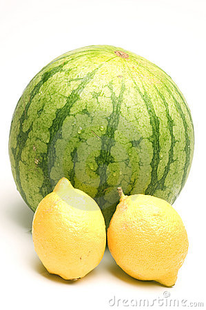 Personal size watermelon and two lemons