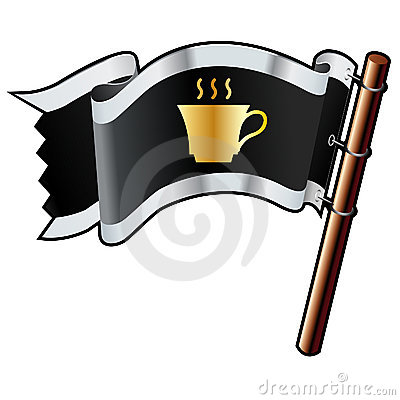 Coffee cup on pirate flag