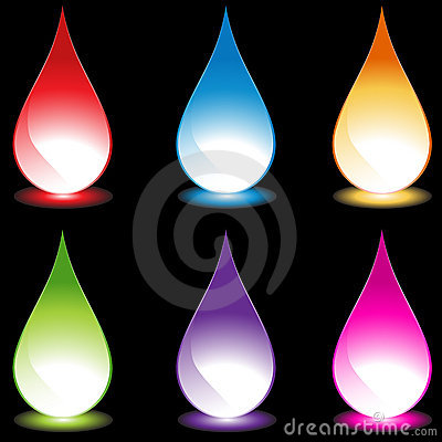 Set of 6 Water Droplets - black background