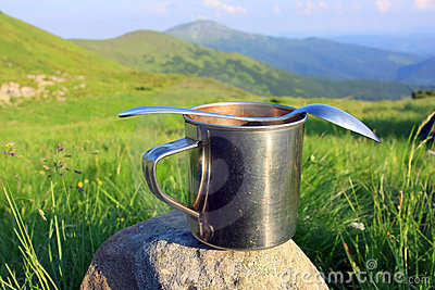 Steel cup and spoon