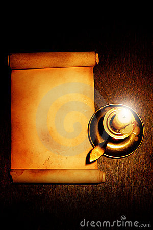 Old scroll and candle