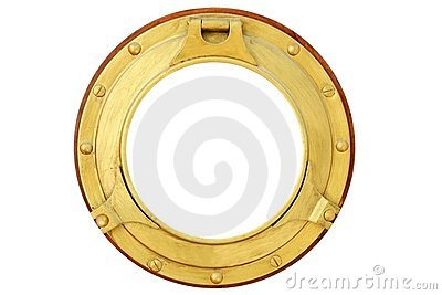 Round golden brass boat window isolated