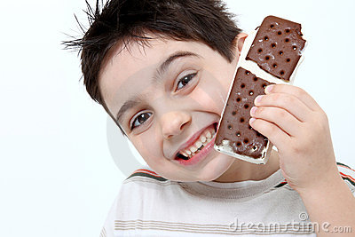 Happy Boy with Ice Cream Sandwich