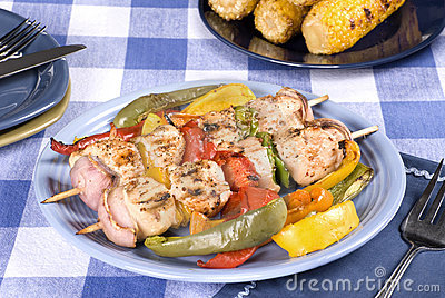 Barbecued chicken kebab