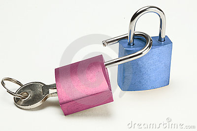 Blue and pink padlock