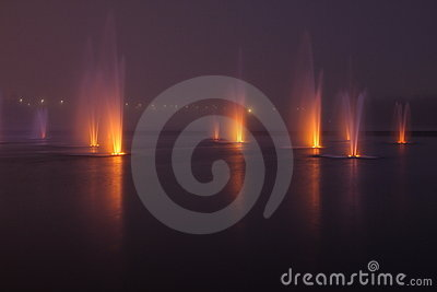 Fountains in the night
