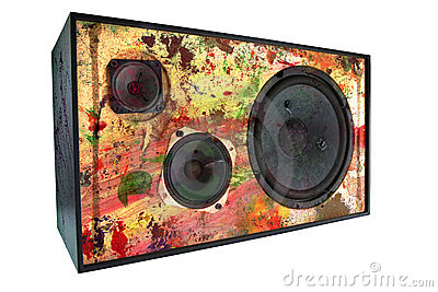 Colored vintage speaker,grungy