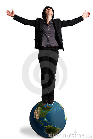 Business woman standing on an earth globe