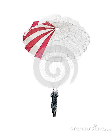 Model paratrooper of a military paratrooper isolated on white.