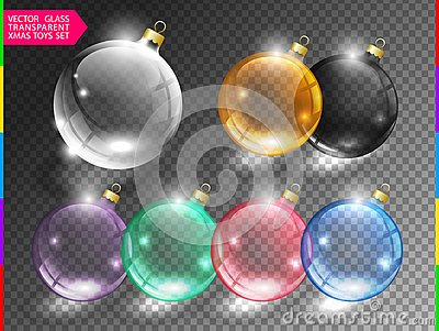 Glass christmas tree ball toy set on transparent background. Different color glossy christmas globe icon. Vector clip art