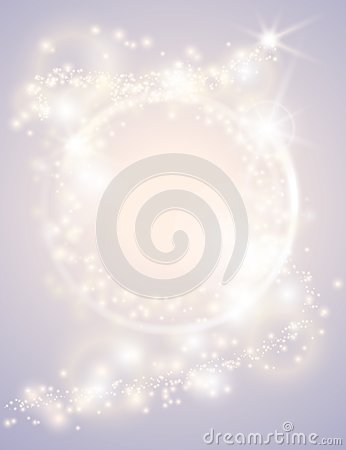 Abstract glow light spark circle frame bright Christmas background. Sparkling festive design poster. Glitter magic round border
