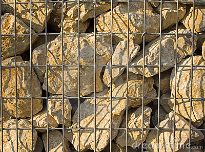 Stones in cage landscape