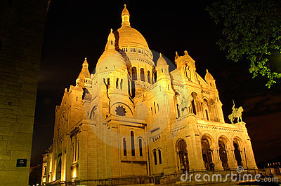 Sacre Coeur by night, Montmartre, Paris, angle view