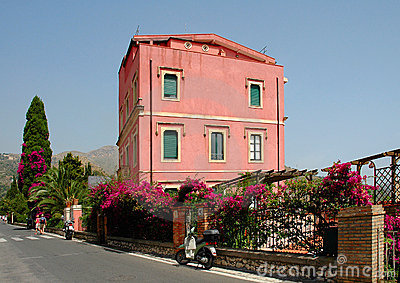 Colorful Building In Taormina, Sicily