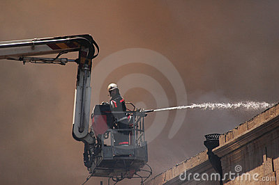 Firefighter on a boom