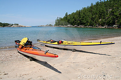 Kayaks in Lake Superior Provincial Park