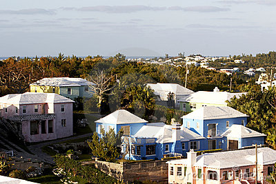 Island scenic colorful homes