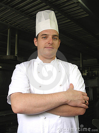 Chef is posing for the camera