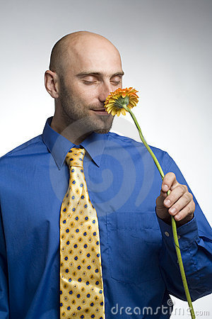 Businessman with flower