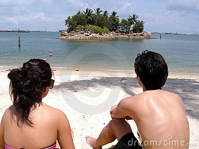 Couple at tropical seaside