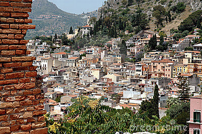 Taormina, Sicily With Mountain In Background